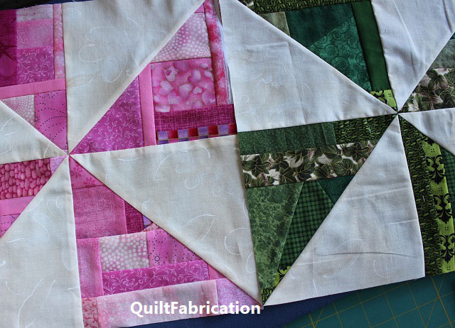 pink and green pinwheel blocks