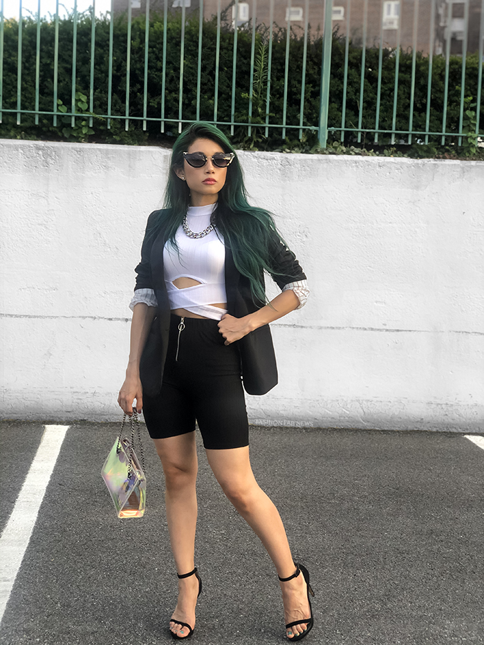 Closer look to biker shorts glam outfit black and white , blazer and sunglasses