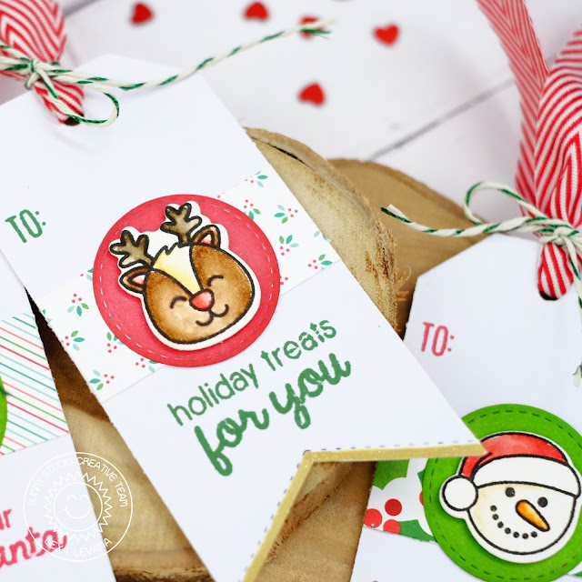 Sunny Studio Stamps: Holiday Gift Tags by Lexa Levana (using Christmas Icons stamp, Traditional Tag Topper & Fishtail Banner Dies)