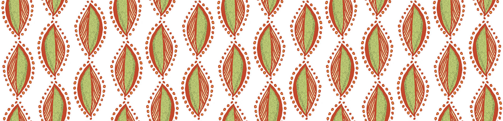 An abstract leaf -ish pattern green and orange.RobinAnnWren.2013