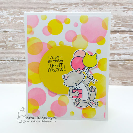 2019 Cat Lovers Hop! Birthday Cat Card by Jennifer Jackson | Newton's Birthday Balloons stamp set by Newton's Nook Designs #newtonsnook #handmade