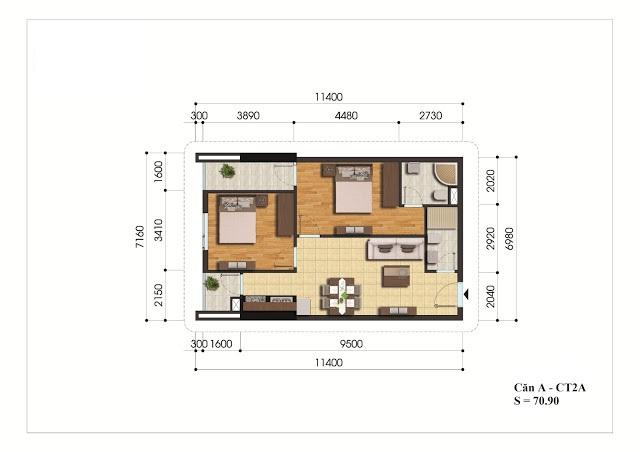 Mặt bằng căn hộ A - CT2A chung cư Gelexia Riverside