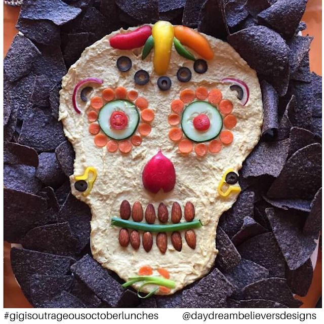 Healthy Halloween Treat Idea! Hummus and Veggie Skull