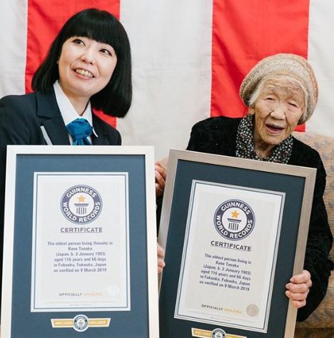 116-year-old Japanese woman honored as the world's oldest living person by Guinness World Records