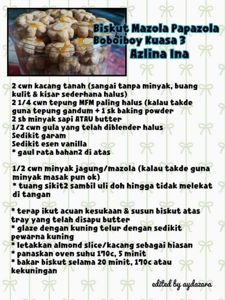 resepi biskut raya mazola