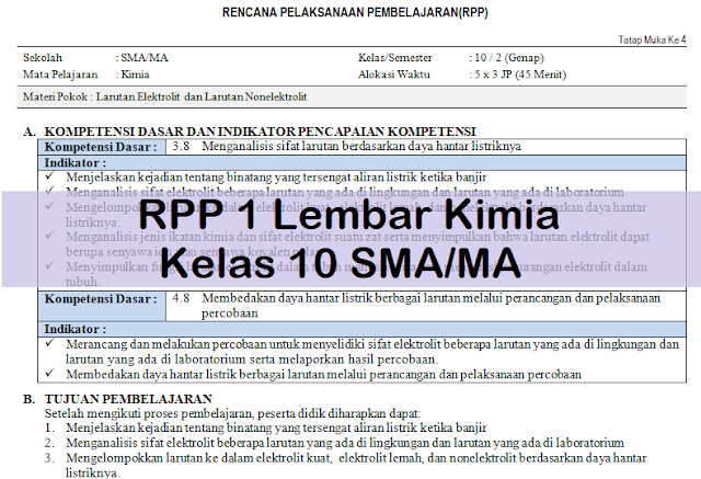 RPP 1 Lembar Kimia Kelas 10 SMA/MA