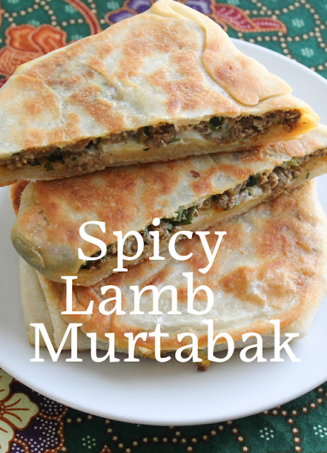 Food Lust People Love: Spicy lamb murtabak starts with a soft dough stretched thin, then filled with seasoned ground lamb and cooked till crispy and golden. Start a day ahead to allow time for the dough to rest overnight in the fridge.