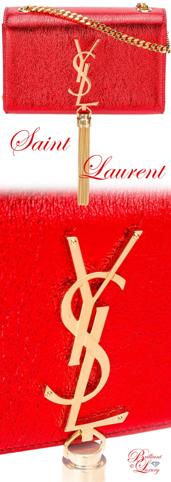 Brilliant Luxury ♦ Saint Laurent small Monogram Kate tassel satchel bag