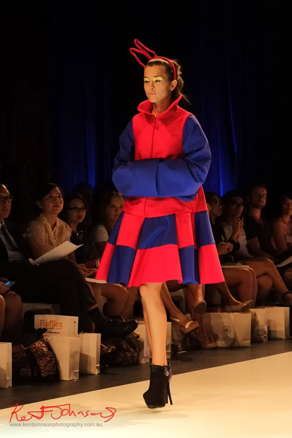 Matiny Ng, Red and blue jumbo checks; New Byzantium : Raffles Graduate Fashion Parade 2013 - Photography by Kent Johnson.