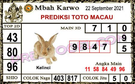 Prediksi jitu Mbah Karwo Macau Rabu 22 September 2021