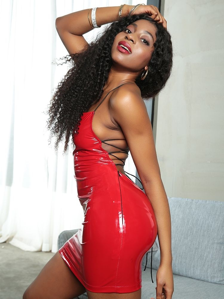 girl is wearing tight red bodycon dress