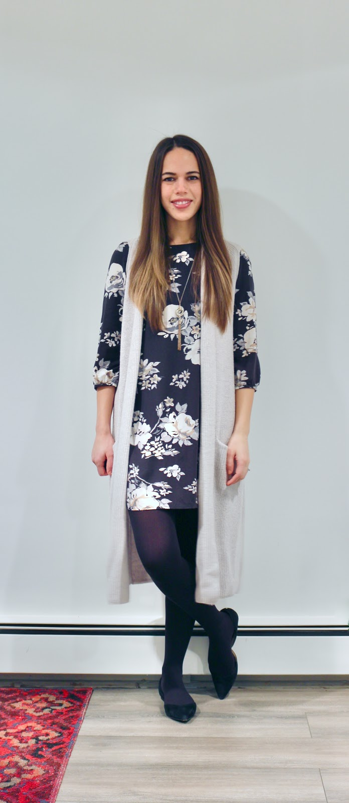 Jules in Flats - Floral Shift Dress with Knit Duster Sweater Vest (Business Casual Winter Workwear on a Budget)