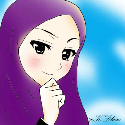 kartun muslimah cantik sedang berdo'a