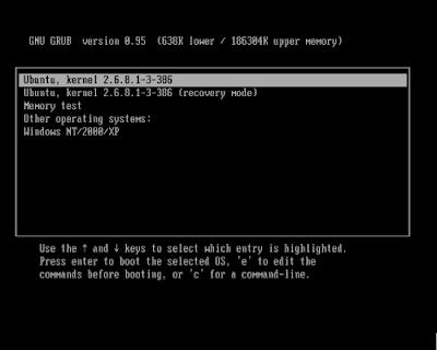 GRUB OS Selection Menu