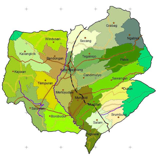 Gambar Peta administrasi Kabupaten Magelang