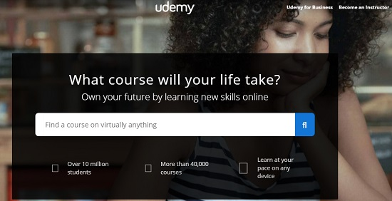 Udemy, home page of Udemy