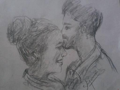 Shiju M Drawings Happy Lovers Drawing