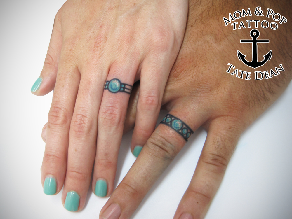 Colored Wedding Ring Tattoos