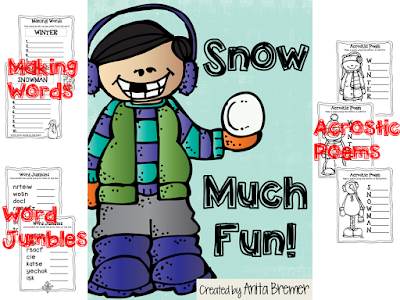 FREE winter themed activity pack to ring in the season! Includes word jumbles, acrostic poems, making words activities, and more.