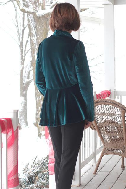 Style Maker Fabrics' Stretch Velvet for a cardigan using McCall's 6996- back peplum