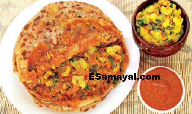 கோதுமை கேழ்வரகு ஆலு பரோட்டா செய்வது   Wheat Millet Aleu Barota Recipe !!