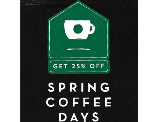 Stabucks Spring Coffee Days 25% Off At-Home Coffee