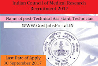 Indian Council of Medical Research Recruitment 2017– Technical Assistant, Technician