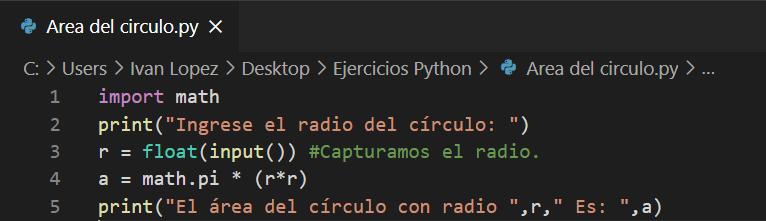 Calcular área del circulo en Python
