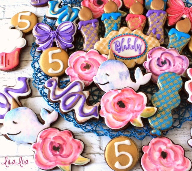 water color birthday cookies - narwhal cookies, rose cookies, balloon cookies, confetti cookies, and candle cookies