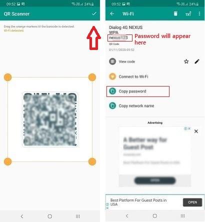 افتح تطبيق QR Scanner وافحص رمز QR الذي تم إنشاؤه من اجل معرفة باسورد الواي فاي المتصل بها