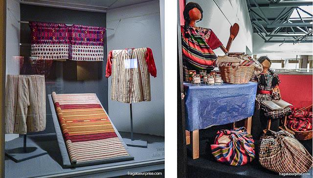 Exemplos de cores e desenhos usado nas roupas tradicionais, Museu Ixchel do Traje Indígena, Cidade da Guatemala