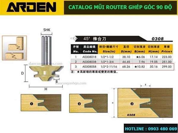 Catalog - Mũi Router ghép góc 90 độ ARDEN A0308