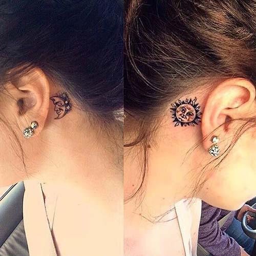 kulak arkası dövmeleri behind ear tattoos 3