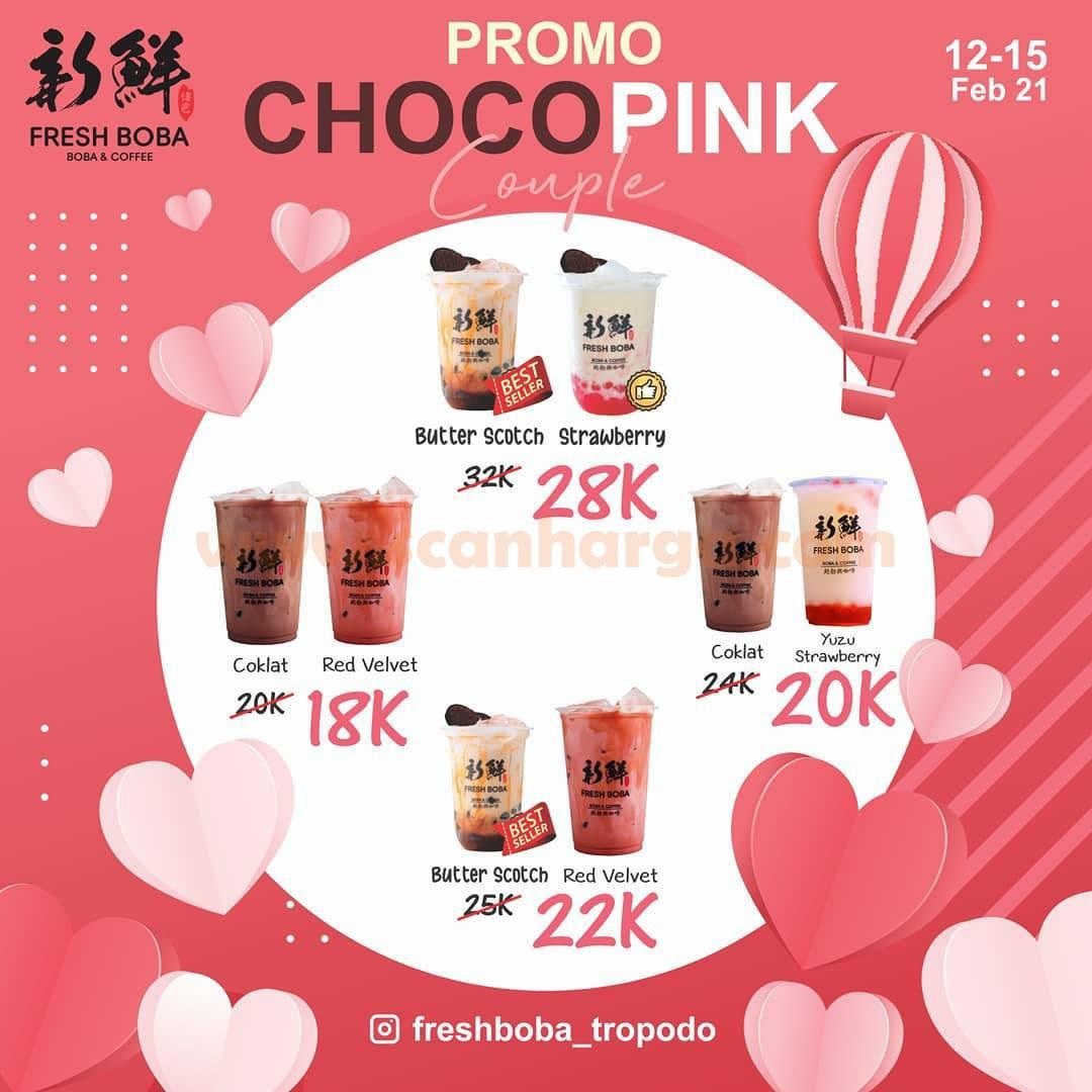 Promo Fresh Boba Terbaru! Paket Choco Pink Couple harga mulai Rp 18K