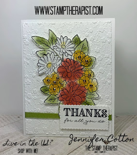 Jennifer shows how to make this Stampin' Up! Ornate Garden Suite card using Sponge Daubers in the video.  Click the photo to go to the blog and see the video. #stampinup #StampTherapist