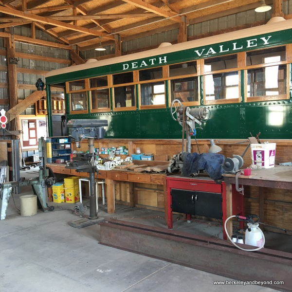 restored Death Valley tourist railroad car at Laws Railroad Museum and Historic Site in Bishop, California