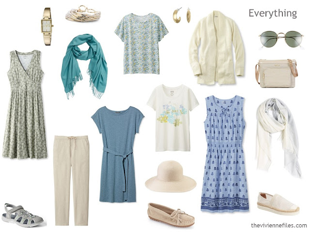 Beige, blue and soft teal summer travel capsule wardrobe.