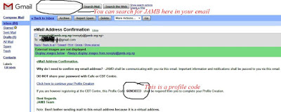 Check for JAMB Profile code in Your Email Inbox/Spam