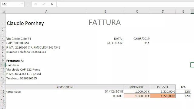 Fattura Excel esempio