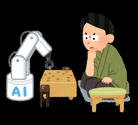 人工知能と戦う将棋の棋士のイラスト