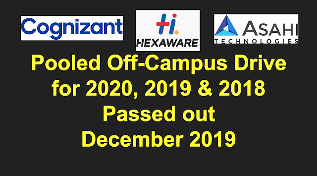 CTS, Hexaware, Asahi pooled campus drive for 2020, 2019 & 2018 passed out