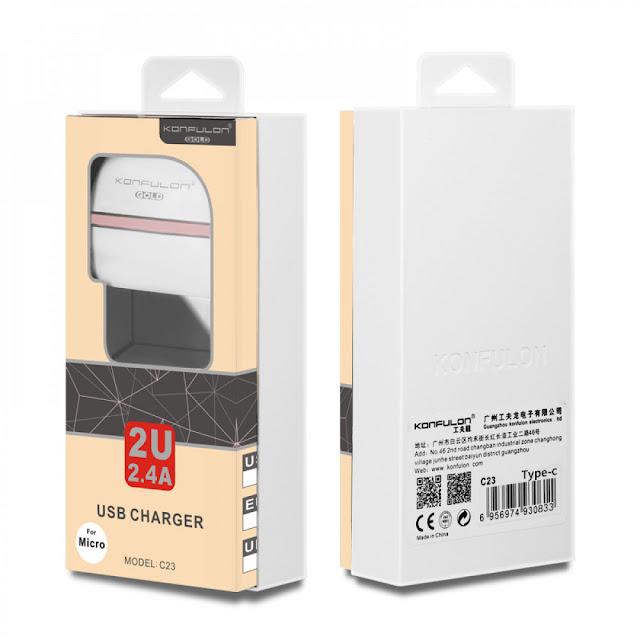 Chargeur Téléphone Konfulon (C23) 2.4A double USB chargecommande en ligne