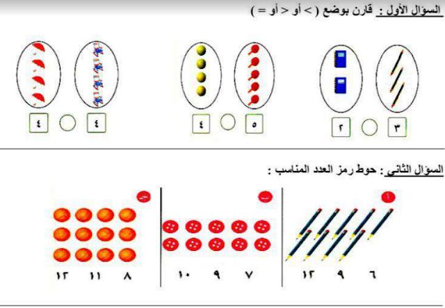 ورقة عمل 3 رياضيات للصف الأول مدرسة الرفعة النموذجية