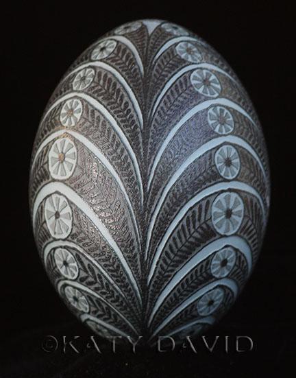 """Coronet"" 2016 Etched emu eggshell"