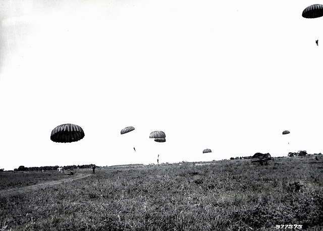 Parachute practice at Lipa Airstrip.  Image source:  United States National Archives.