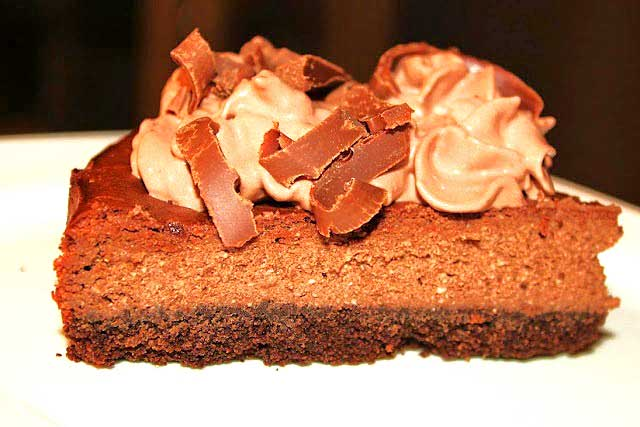 a silky chocolate ricotta cheesecake with Amaretto flavors