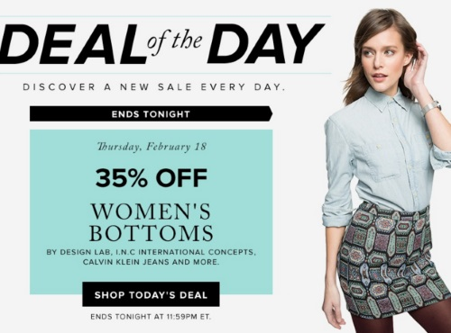 Hudson's Bay Deal of the Day 35% Off Women's Bottoms