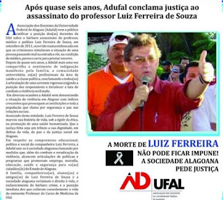 nota assassinato Luiz Ferreira