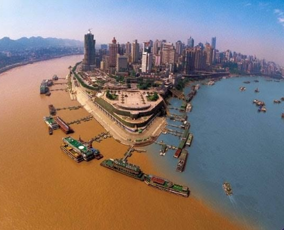The confluence of the Jialing River and Yangtze River in Chongqing, China