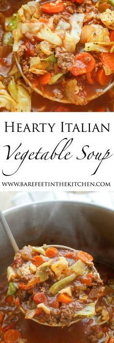 Hearty Italian Vegetable Beef Soup is filled with chunks of ground beef, plenty of vegetables, and generous Italian spices. This soup freezes quite well making it perfect for easy lunches.